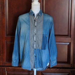 Anthropolgie Distressed Denim Shirt S
